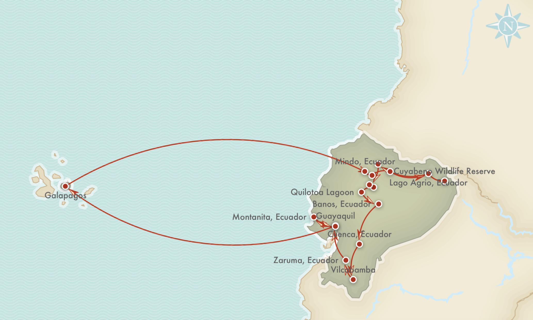 Kort over rejseprogrammet for Eventyrlige Ecuador & Galápagos
