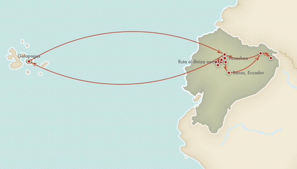 Kort over rejseprogrammet - Iliniza Norte, Cotopaxi, Amazonas og Galapagos