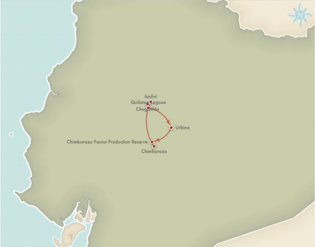 Kort over rejseplanen for Chimborazo trekking