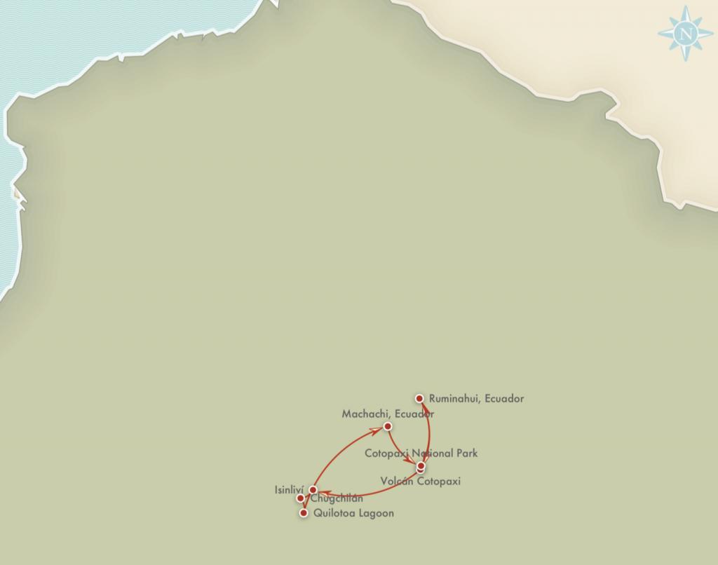 Kort over rejseplanen for Cotopaxi Trekking