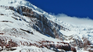 Billede af Cotopaxis gletsjer. Leder til info om bjergbestigning og trekking