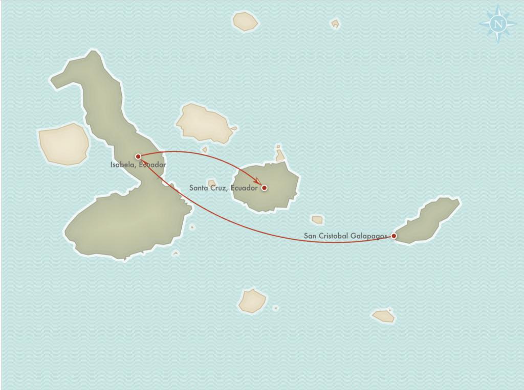 Kort over rejseplanen for Frivilligt Arbejde på Galapagos