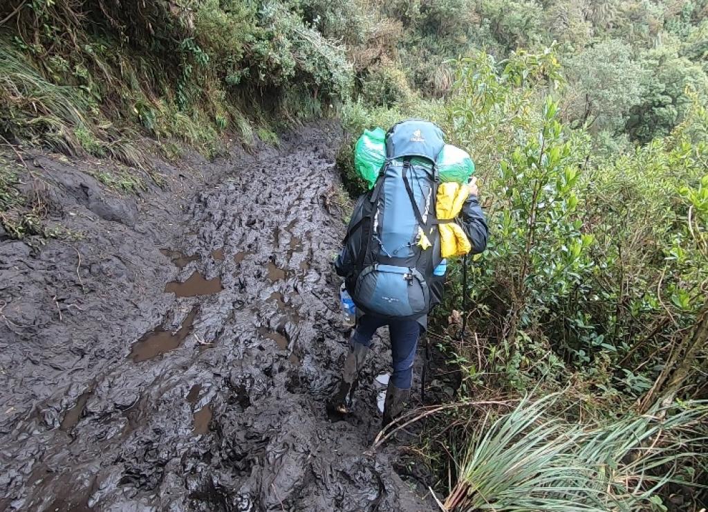 Billede af den mudrede vej mod El Altar